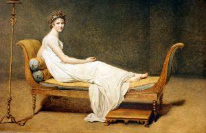 Madame Récamier reclining not doing a deep squat!