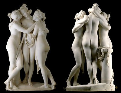 The Three Graces, by Antonio Cannova (active 1814-17). Now in the V&A Museum in London