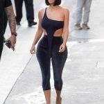 Kim Kardashian in black skin tight capri trousers